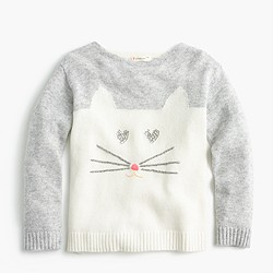 Girls' kitty sweater with sequins