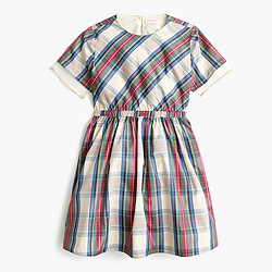 Girls' tulle-hem dress in festive plaid