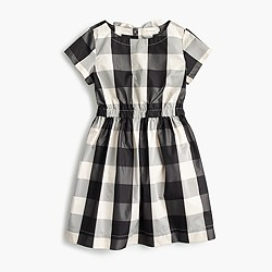 Girls' elastic-waist dress in buffalo check