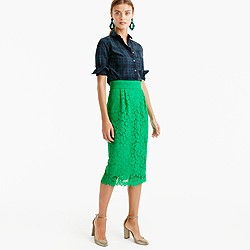 Pintucked pencil skirt in lace