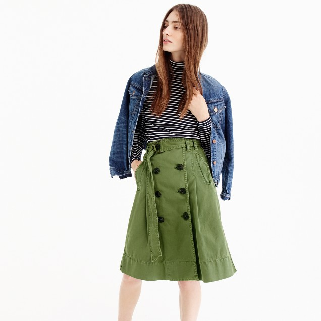 Chino trench skirt