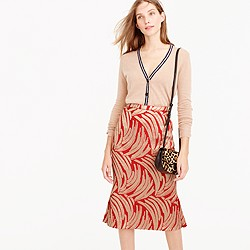Panel skirt in palm leaf jacquard