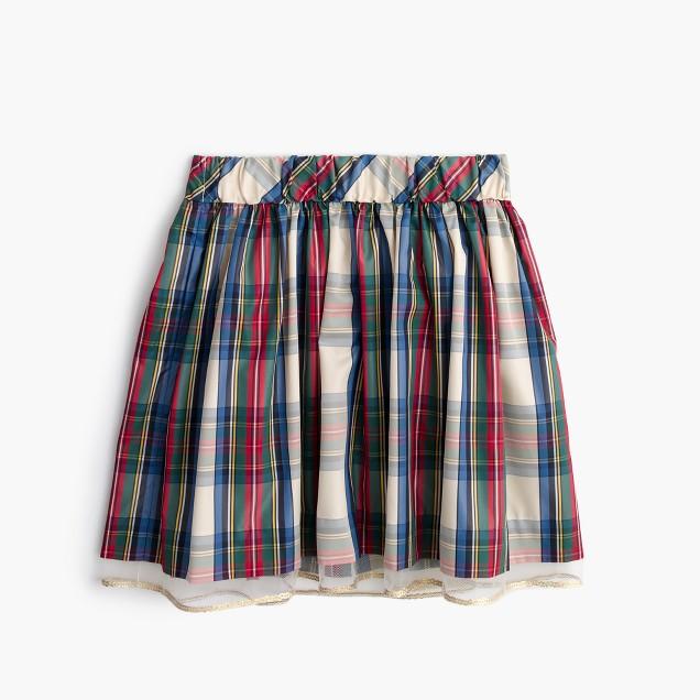 Girls' tulle-hem skirt in festive plaid