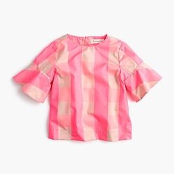 Girls' ruffle-sleeve shirt in neon buffalo check