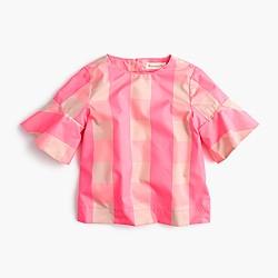 Girls' ruffle-sleeve shirt in neon buffalo check