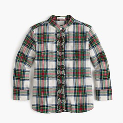 Girls' ruffle button-up in festive plaid