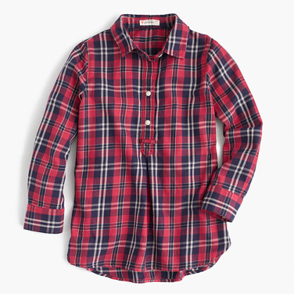 Girls' flannel shirt in shimmer plaid