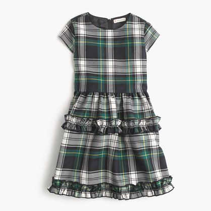 Girls' ruffle dress in navy-green tartan