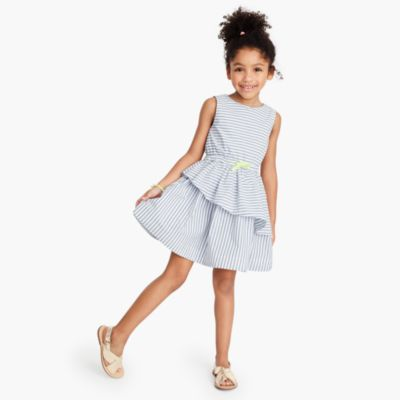 Girls' striped asymmetrical ruffle dress
