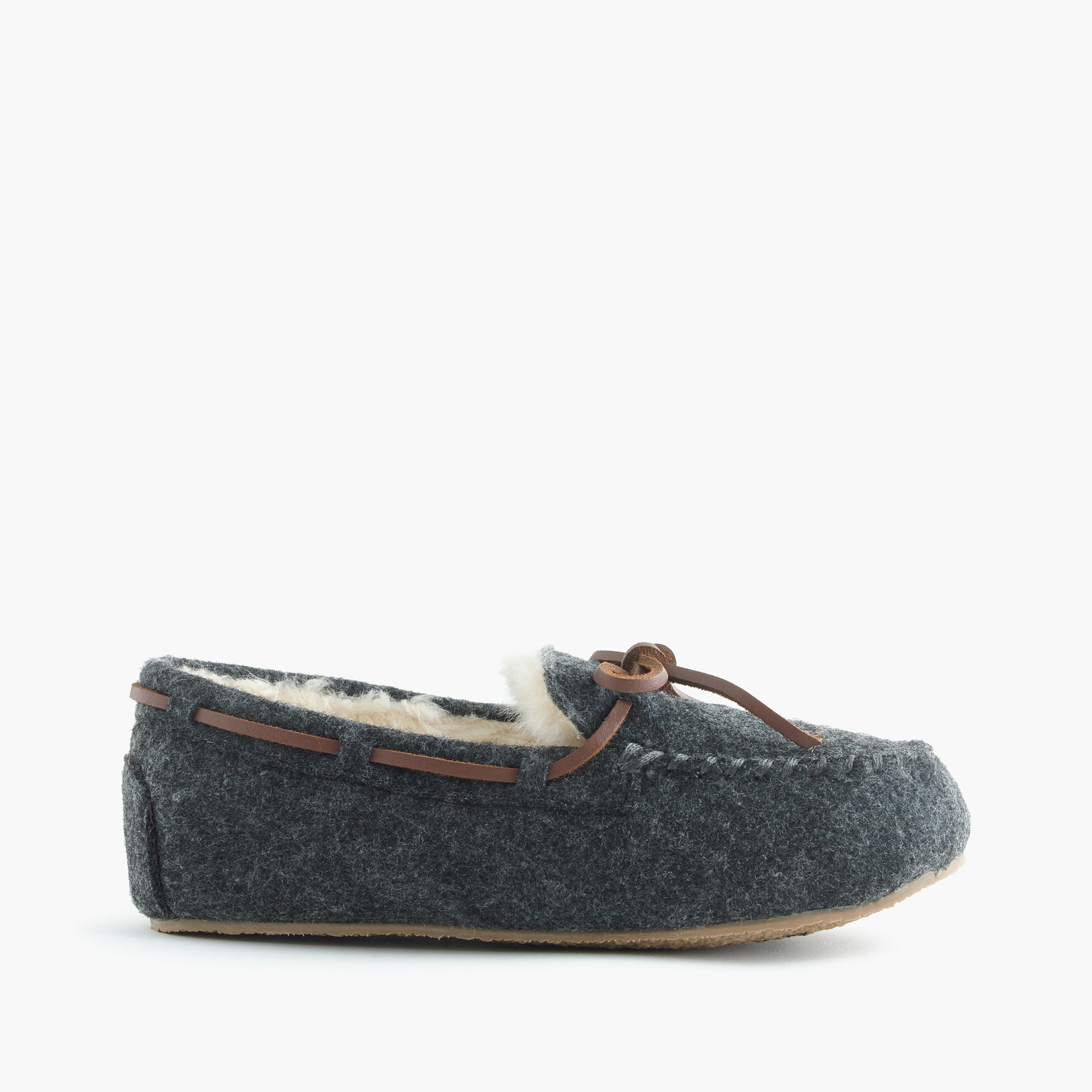 Kids 39 shearling lodge moccasins in wool boys 39 slippers for J crew bedroom slippers