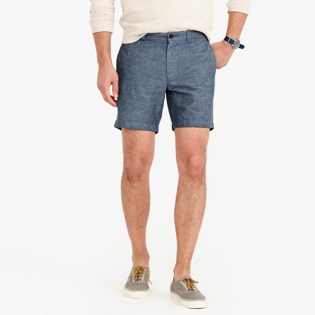 "7"" short in cotton-linen"