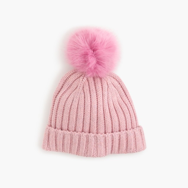 Ribbed hat with faux-fur pom-pom