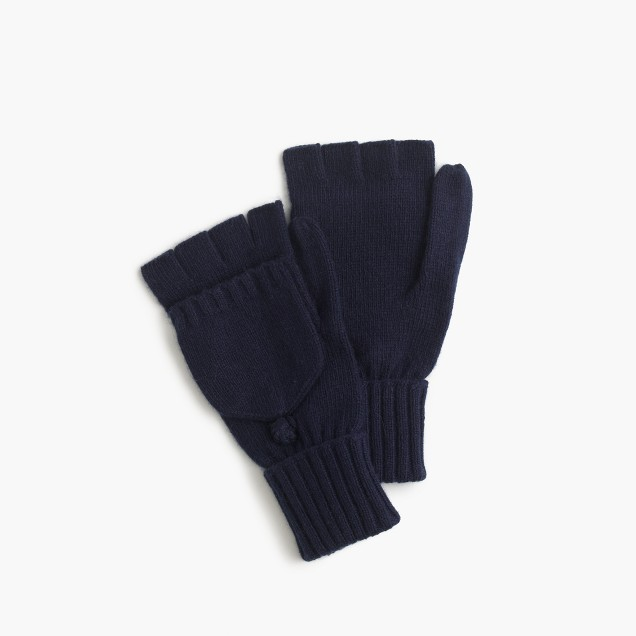 Ribbed wool-blend glittens
