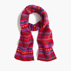 Wool scarf in Fair Isle