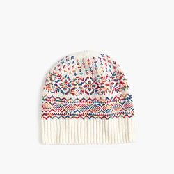 Wool hat in colorful Fair Isle