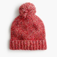 Pom-pom hat in marled Italian wool blend