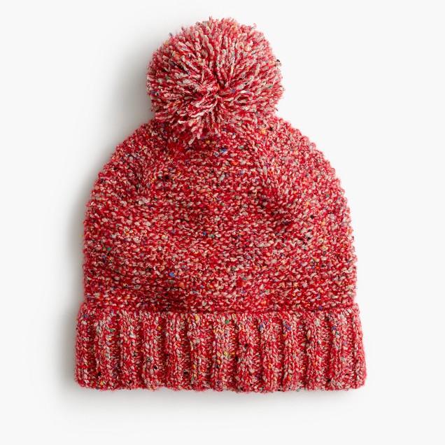 Pom-pom hat in marled Italian wool blend