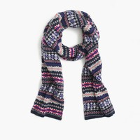 Merino wool scarf in Fair Isle