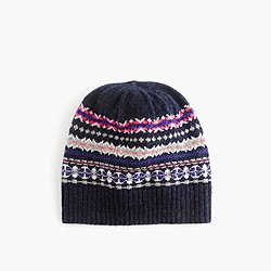 Merino wool hat in Fair Isle