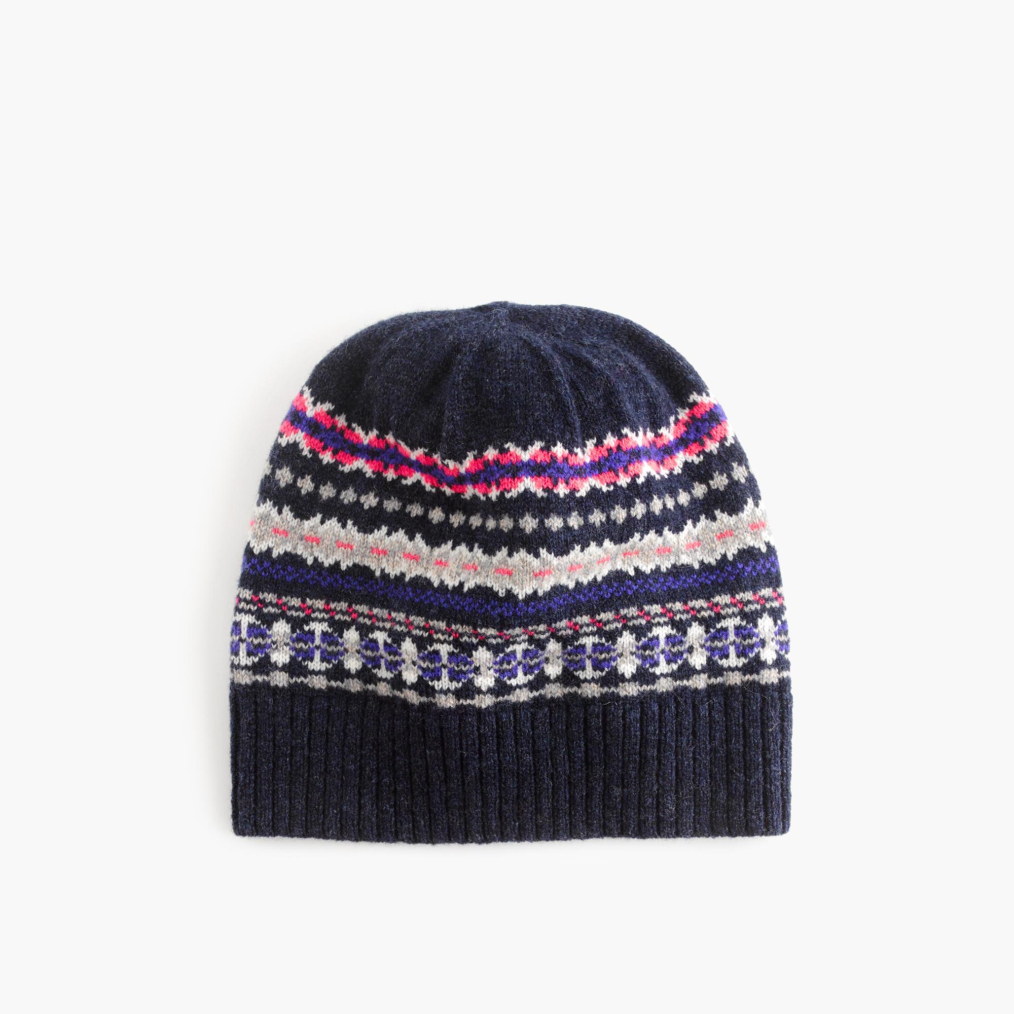 merino wool hat in fair isle s winter hats j crew