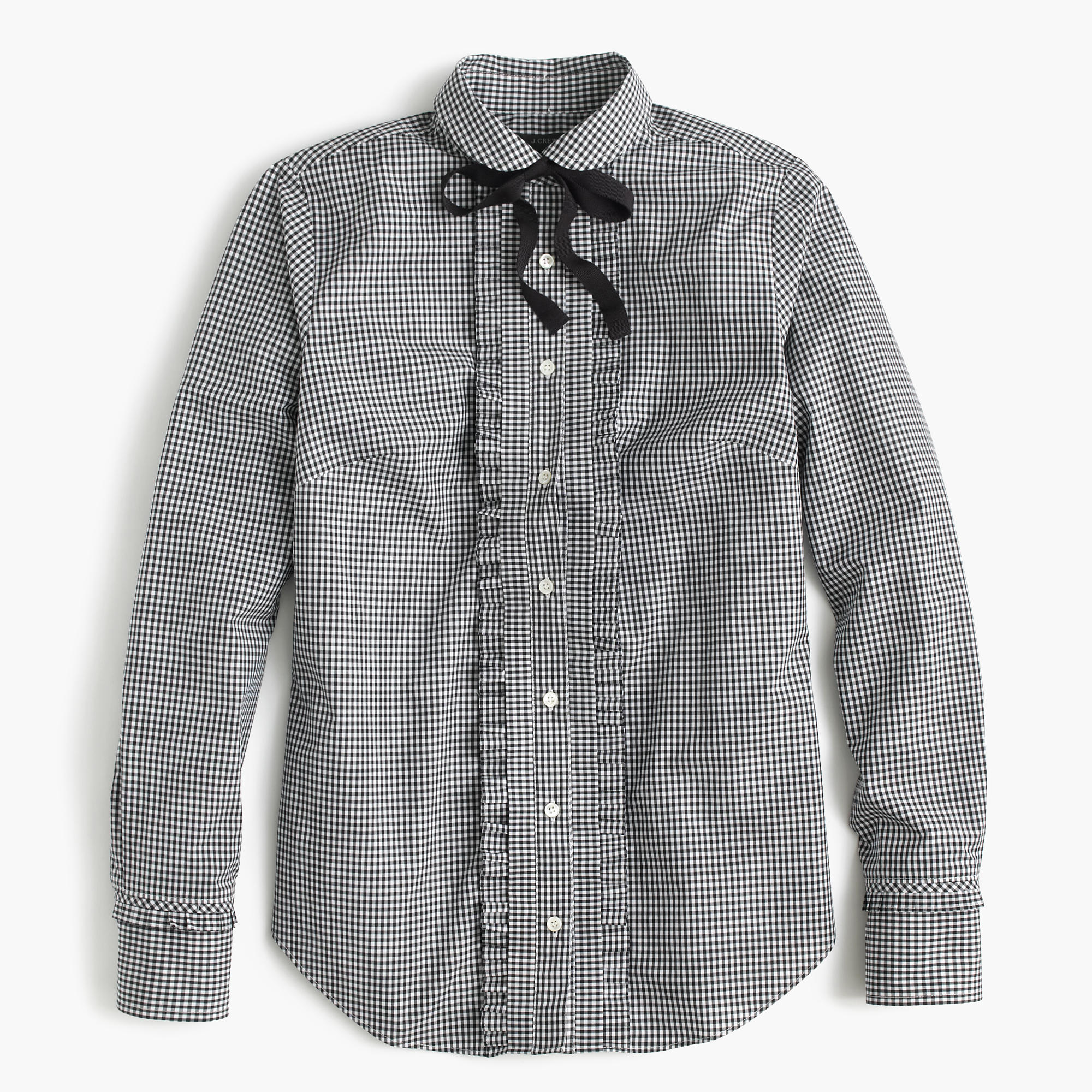 Gingham Tie-Neck Shirt With Ruffles : Women's Shirts