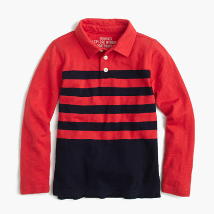 Boys' long-sleeve polo shirt in placed stripe