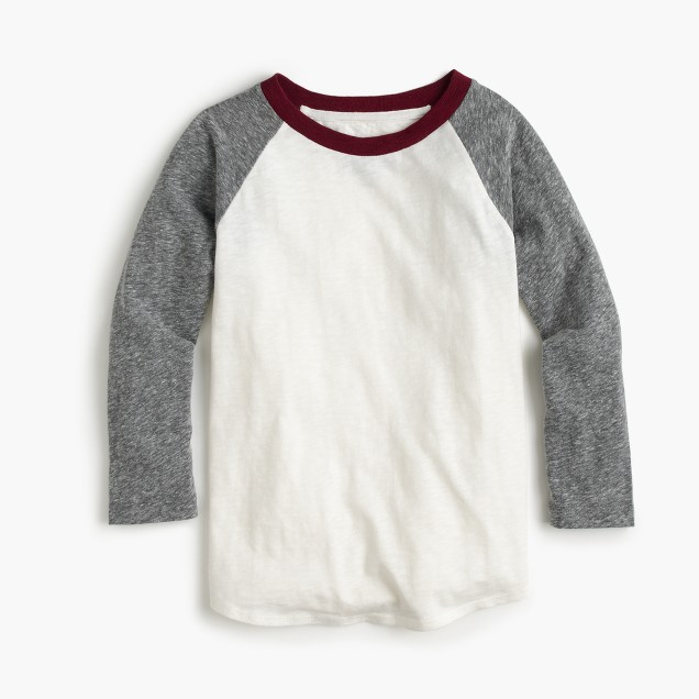 Boys' three-quarter-sleeve baseball T-shirt with the softest jersey sleeves