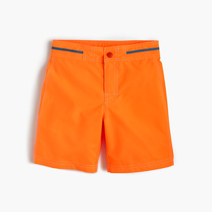 Boys' snap-front board short in neon tangerine