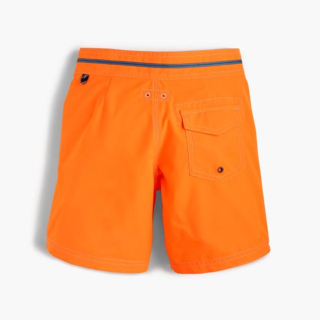Boys' snap-front board short in neon tangerine