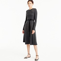 Flared knit midi dress with velvet tie