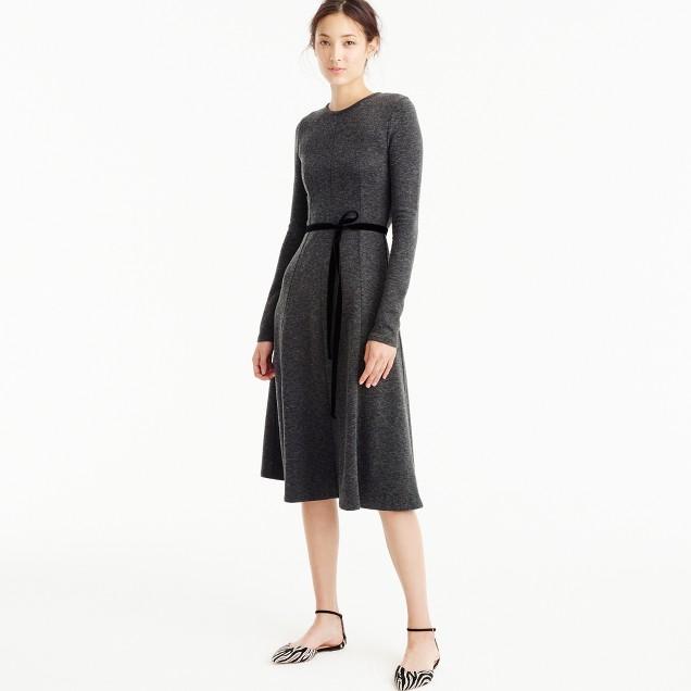 Flared knit midi dress with velvet tie