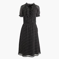 Silk ruffled clip-dot dress