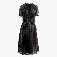 Silk ruffled clip-dot dress