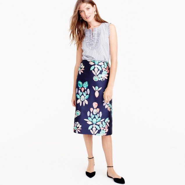 Collection silk twill skirt in painted gemstone print