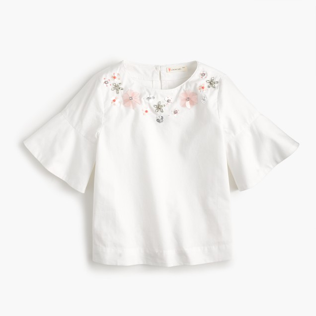 Girls' flutter-sleeve necklace top