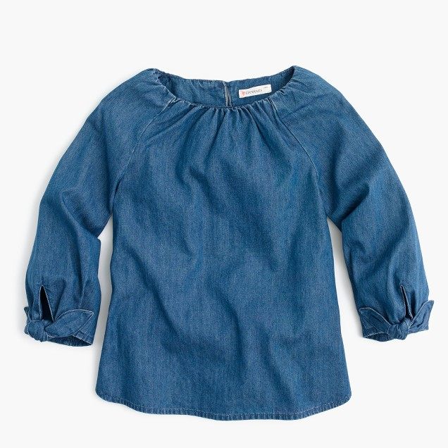 Girls' tie-sleeve top in chambray
