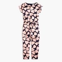 Girls' drapey jumpsuit in heart print