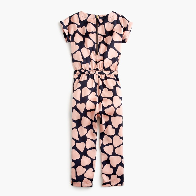 Girls' drapey jumpsuit in heart print