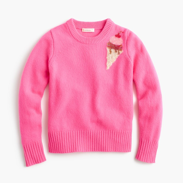 Girls' sequin ice cream sweater