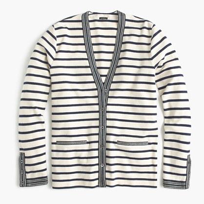 Metallic-trim striped cardigan sweater