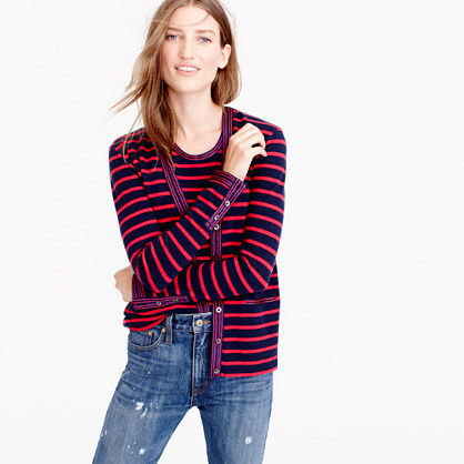 Metallic-trim striped cardigan sweater