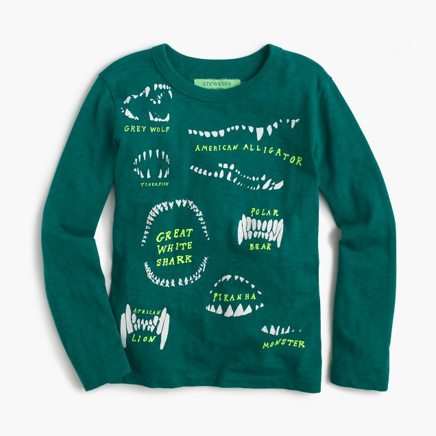 Boys' long-sleeve glow-in-the-dark animal teeth T-shirt