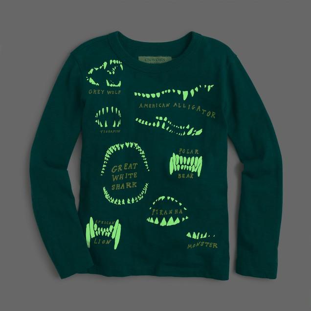Boys' long-sleeve glow-in-the-dark animal teeth T-shirt