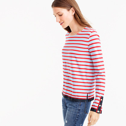 Grosgrain ribbon striped T-shirt with nautical buttons