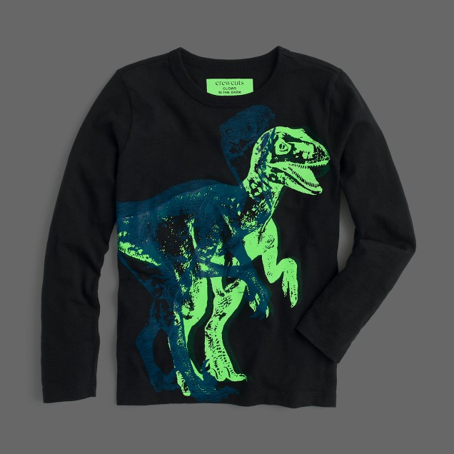 Boys' long-sleeve glow-in-the-dark 3D dino T-shirt