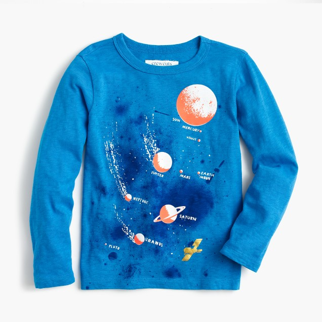 Boys' long-sleeve glow-in-the-dark planet T-shirt