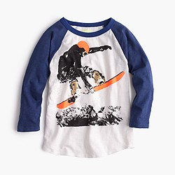 Boys' three-quarter sleeve snowboarder T-shirt