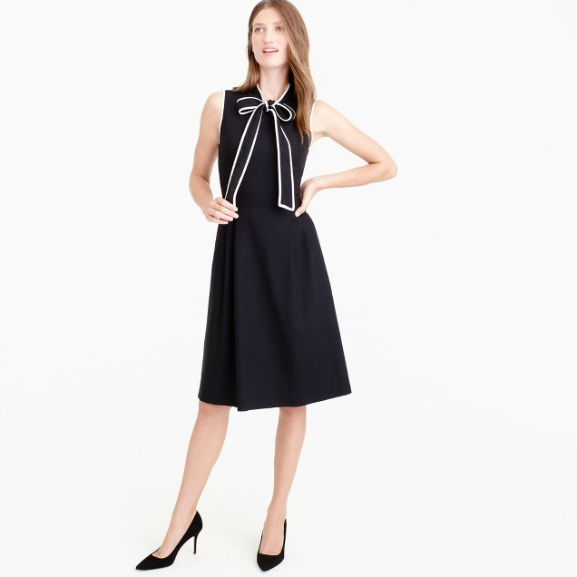 Petite tie-neck dress in Italian wool crepe