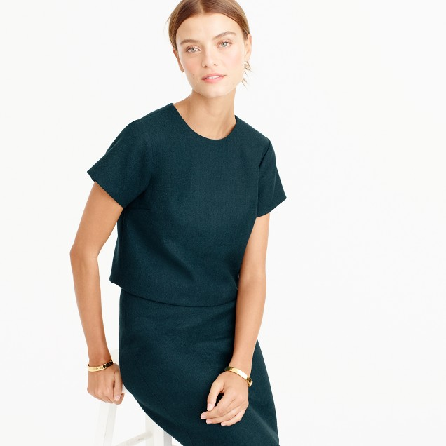 Short-sleeve top in double-serge wool