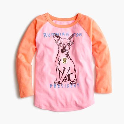"Pre-order Girls' chihuahua ""running for president"" baseball T-shirt"